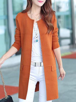 Elegant Plain Long Sleeve Knit Cardigan, 10158065