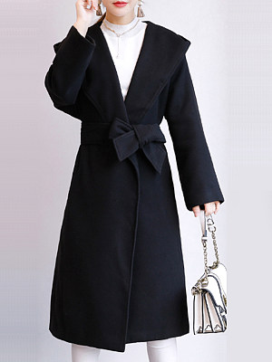 Women's Fashion Solid Color Woolen Coat gender:female, season:autumn,winter,spring, texture:woolen, sleeve_length:long sleeve, style:japan and south korea, collar_type:hat collar, dress_occasion:daily, bust:124,clothing length:108,shoulder width:70,