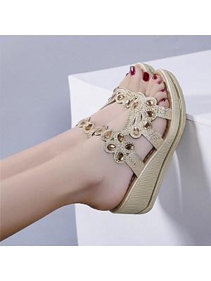 Women's Casual Rhinestone Wedge Sandals
