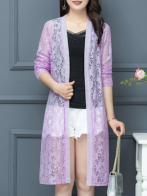 See-Through Floral Plain Long Sleeve Cardigan