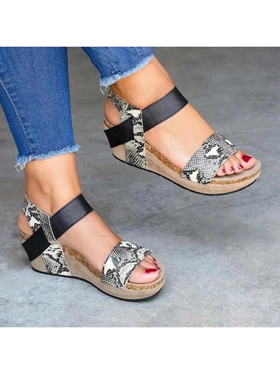 BerryLook Women's fashionable Snake Wedge Sandals