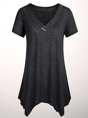 V Neck Plain Buttons Short Sleeve T-shirt, 11557333