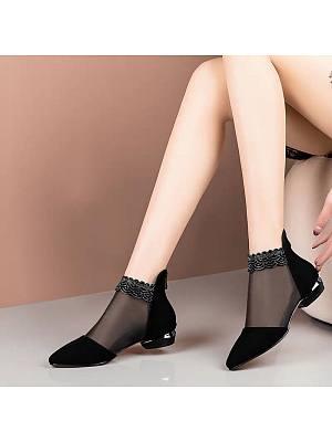 Womens Mesh Rhinestone Ankle Boots