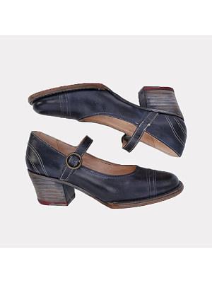 Vintage Women Round Toe Belt Buckle High Heels, 11018307