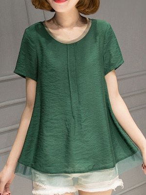 Round Neck Patchwork Plain Short Sleeve T-shirt, 11458455