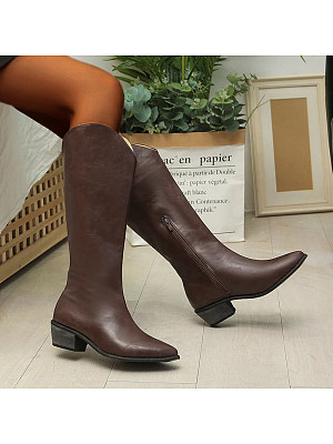 berrylook Women's Pointed Thick Heel High Boots