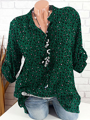 V Neck Loose Fitting Printed Long Sleeve Blouse, 24775014