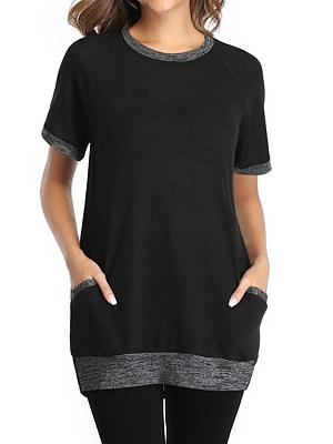 Round Neck Plain Short Sleeve T-shirt, 24776419