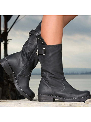 Retro Casual Solid Color Platform Bottom Tube Boots, 10827078