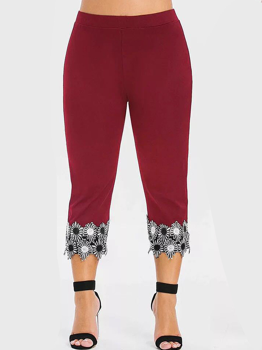 Plus size high waist high stretch lace leggings cropped pants