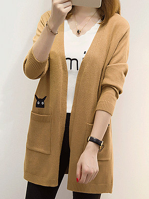 Printed Long Sleeve Knit Cardigan, 10489168
