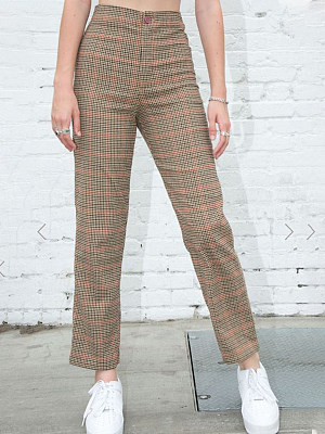 Casual high waist check trousers, 24632499, BERRYLOOK  - buy with discount