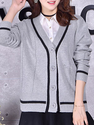 V Neck Coloring Single-breasted Long Sleeve Knit Cardigan, 10329176