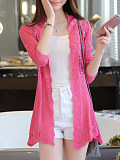 Image of Knitted Lace Stitching Long-Sleeved Cardigan