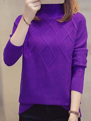 Short High Collar Elegant Plain Long Sleeve Knit Pullover, 10579784