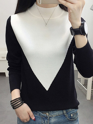 Short High Collar Color Block Long Sleeve Knit Pullover фото