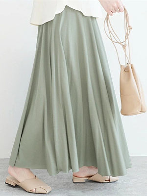 Long skirt with elastic waist half-length skirt