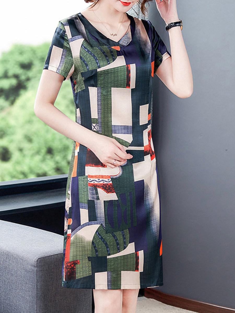 V-Neck Floral Printed Shift Dress