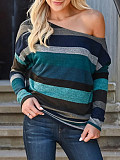 Image of Open Shoulder Collar Striped Long Sleeve T-shirt