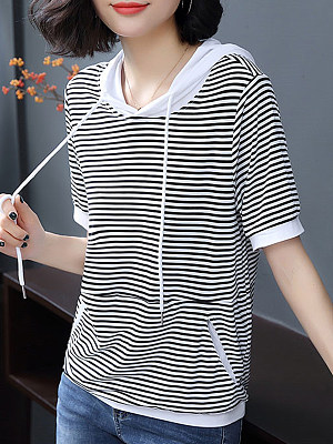 Hat Collar Striped Short Sleeve T-shirt, 11379133