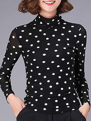 Heap Collar Elegant Dot Long Sleeve T-Shirt, 10654509