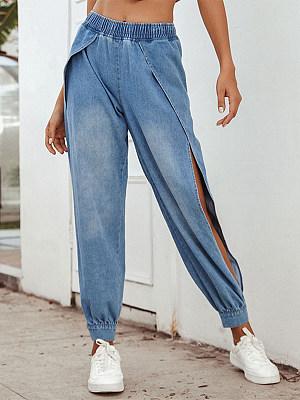 Streetwear Pure Color Side slit Jeans фото