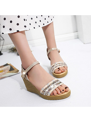 High-heeled open-toe shiny fish mouth buckle sexy sandals, 11230946