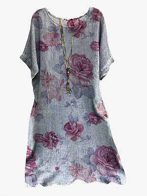 Round Neck Plain Shift Dress, 24529144