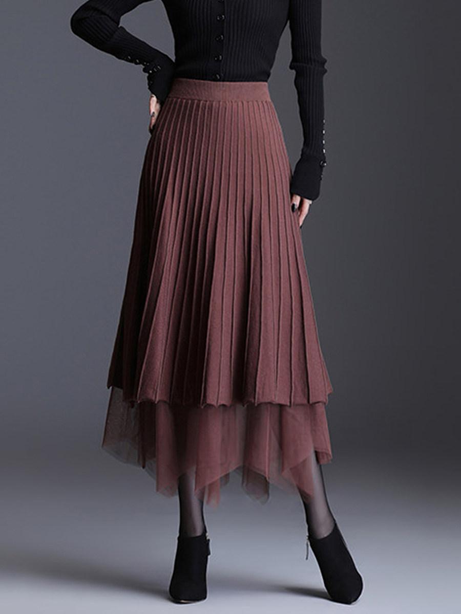 Fall/winter fashion new style lace stitching skirt with irregular hem on both sides