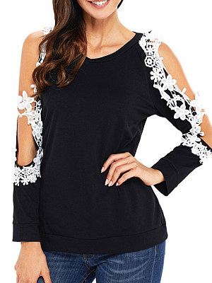 Round Neck Patchwork Lace Long Sleeve T-shirt, 11567520