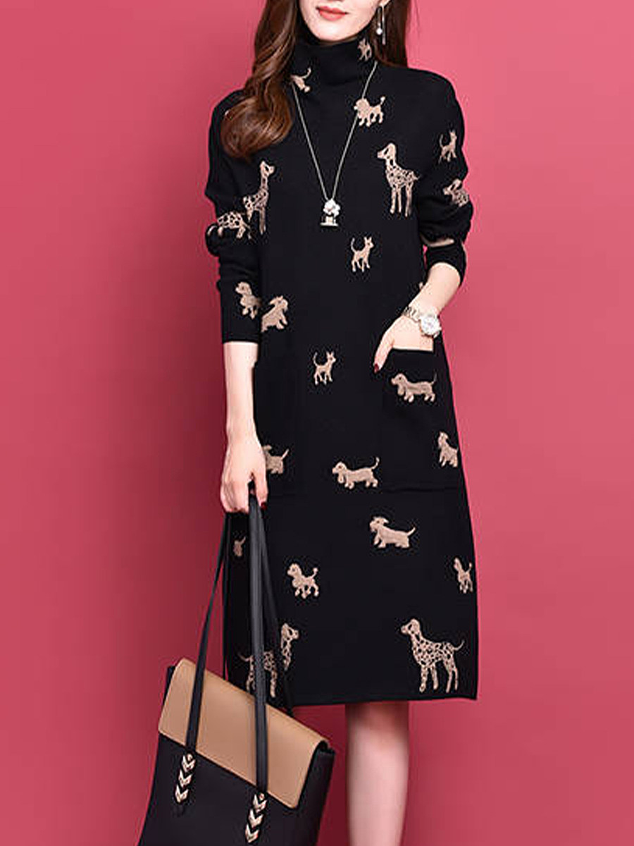 Women's fashion high collar print dress - from $17.95