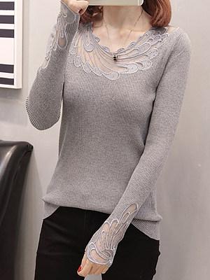 Round Neck Patchwork Elegant Plain Long Sleeve Knit Pullover, 10311493