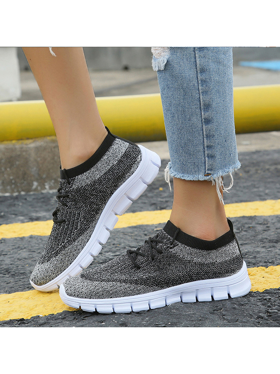 BerryLook Women's  round head lightweight comfortable breathable casual flying woven sneakers