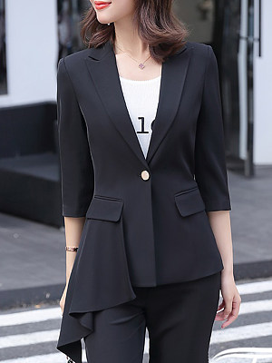 Fashion Fold-over Collar Blazer фото