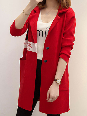 Casual Printed Long Sleeve Knit Cardigan, 10566621