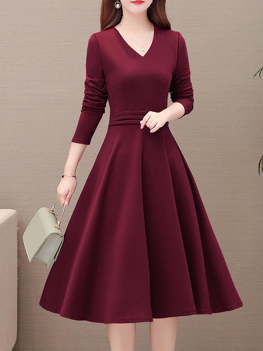 Women's V-neck Retro Temperament Long Sleeve Dress - from $24.95