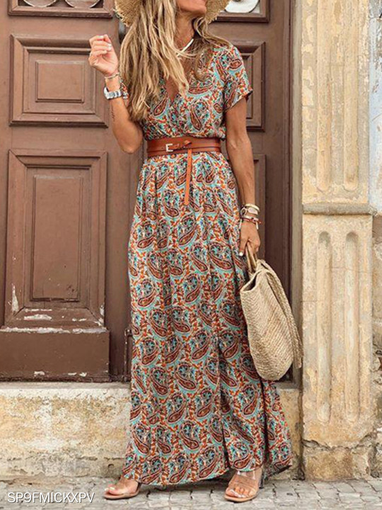 Women Casual Loose Bohemian Short Sleeve Floral Dress