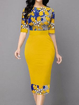 berrylook Round Neck Print Stitching Bag Hip Dress