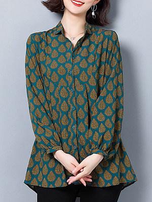 Turn Down Collar Printed Long Sleeve Blouse, 10976173