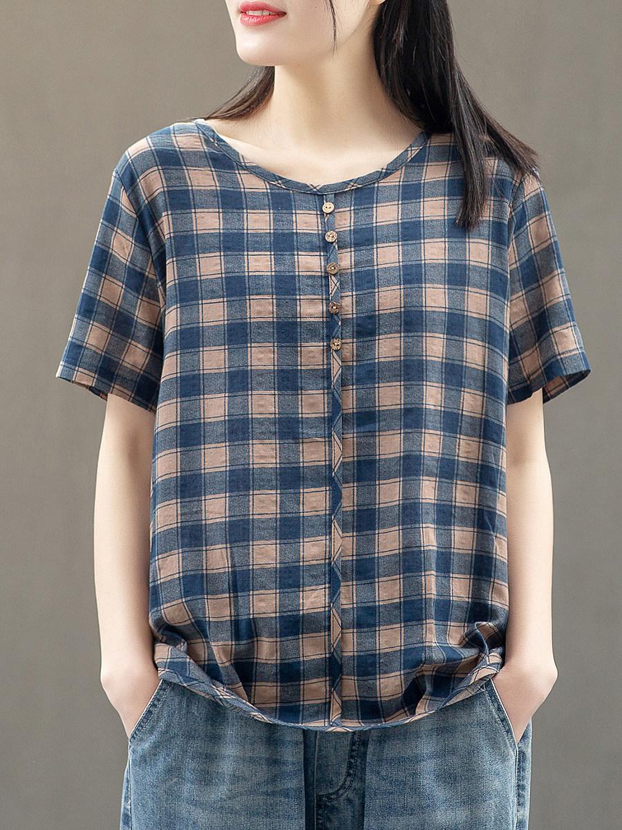 BerryLook Round Neck Plaid Short Sleeve Cotton Blouse
