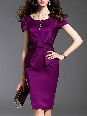 Round Neck Plain Bodycon Dress, 11373062