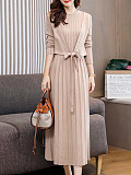 Round Neck Solid Color Straight Dress