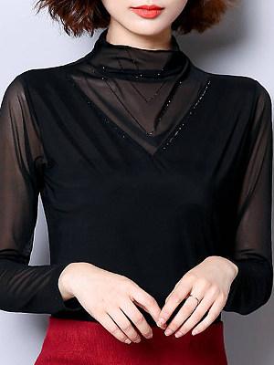 Heap Collar Elegant Plain Long Sleeve T-Shirt, 10651852