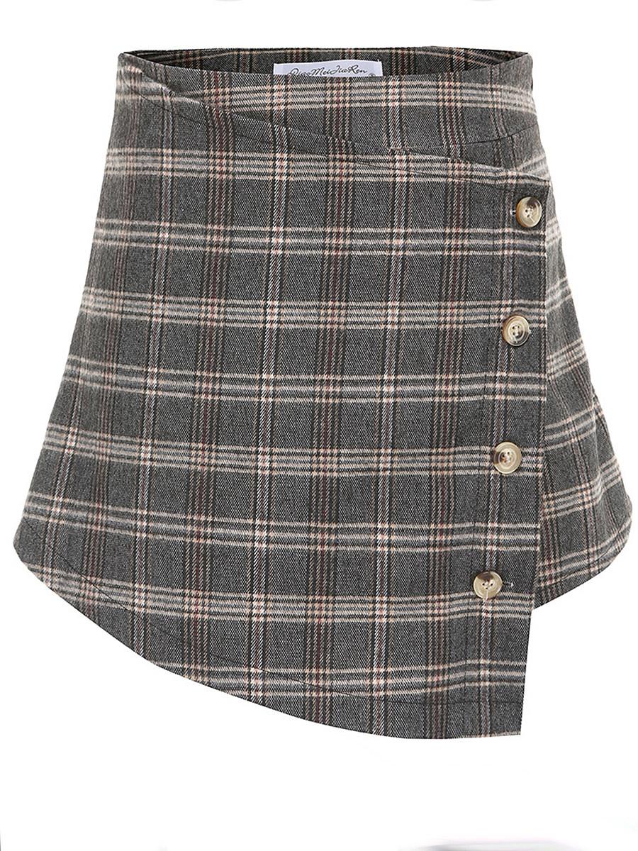 Mid-length plaid bust skirt