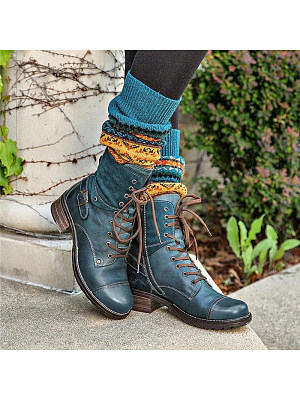 Vintage Women Patchwork Lace-up Belt Buckle Boots, 10676062