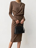 Image of Long Sleeve Solid Color Round Neck Waist Dress
