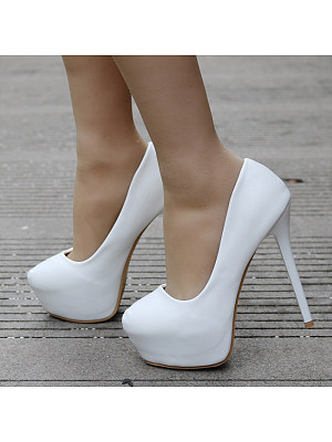 Stiletto platform white high heels фото