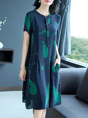 Berrylook Ice Silk Plus Size Short Sleeve Shift Dress online shopping sites, shoping, long red dress, floral shift dress