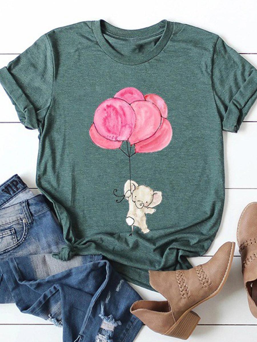 BerryLook Round Neck Animal Print Short Sleeve T-shirt