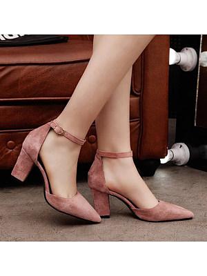 Women's Fashion Pure Color Matte Buckle High Heels